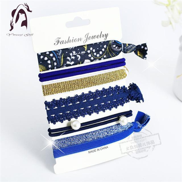 Trendy Summer Elastic Women Hair Accessories Tassel Hairband Jewelry Hand Band For Girls 5Pcs/Pack-Accessories-JUNFU Outlet Store-HB128-EpicWorldStore.com