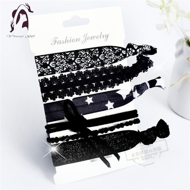 Trendy Summer Elastic Women Hair Accessories Tassel Hairband Jewelry Hand Band For Girls 5Pcs/Pack-Accessories-JUNFU Outlet Store-HB129-EpicWorldStore.com