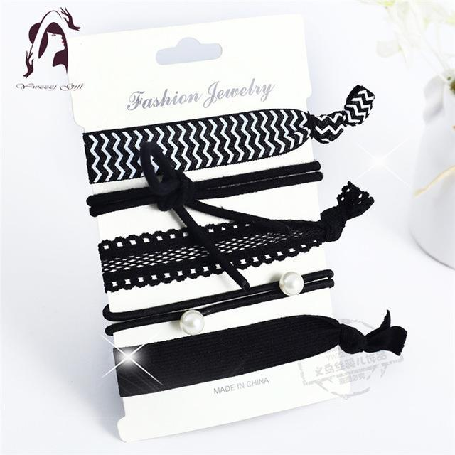 Trendy Summer Elastic Women Hair Accessories Tassel Hairband Jewelry Hand Band For Girls 5Pcs/Pack-Accessories-JUNFU Outlet Store-HB130-EpicWorldStore.com