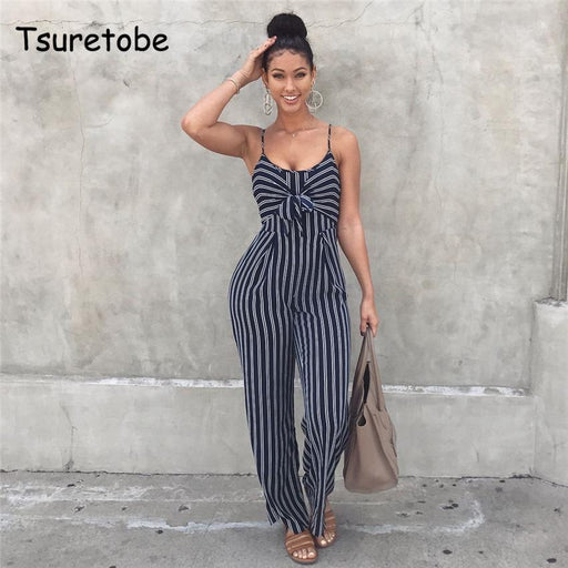 Tsuretobe Stylish Bow Strap Striped Jumpsuit Wide Legs Summer Sleeveless Backless Off Shoulder High-Jumpsuits-A Lx Store-S-EpicWorldStore.com