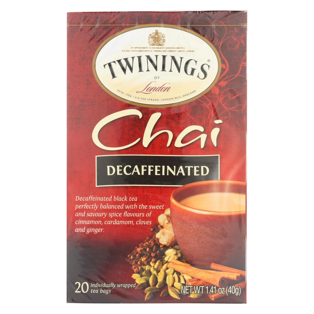 Twining'S Tea Chai - Decaffeinated - Case Of 6 - 20 Bags-Eco-Friendly Home & Grocery-Twinings Tea-EpicWorldStore.com