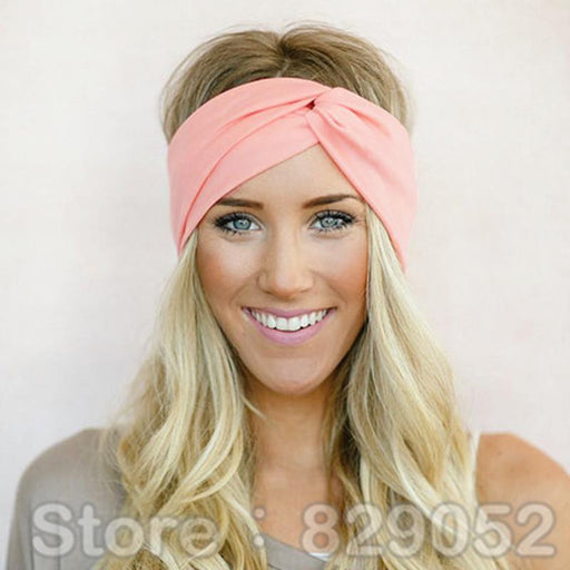 Twist Turban Headband For Women Bows Elastic Sport Hairbands Head Band Yoga Headbands Headwear-Accessories-BIRDS-UP Store-S01 coral-EpicWorldStore.com