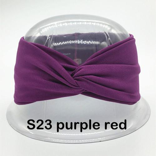 Twist Turban Headband For Women Bows Elastic Sport Hairbands Head Band Yoga Headbands Headwear-Accessories-BIRDS-UP Store-S23 purple red-EpicWorldStore.com