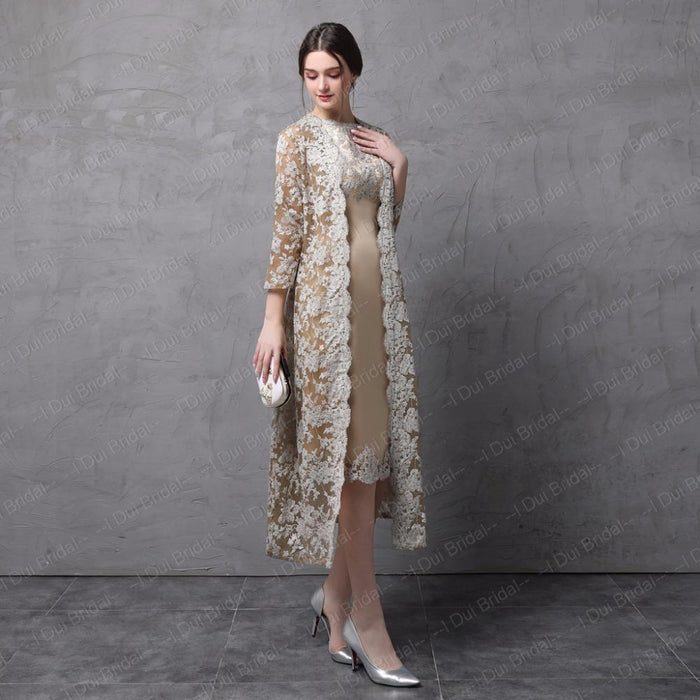 aa09220347d Two Piece Mother Of The Bride Dress With Long Lace Jacket Knee Length Three  Quarter Sleeve