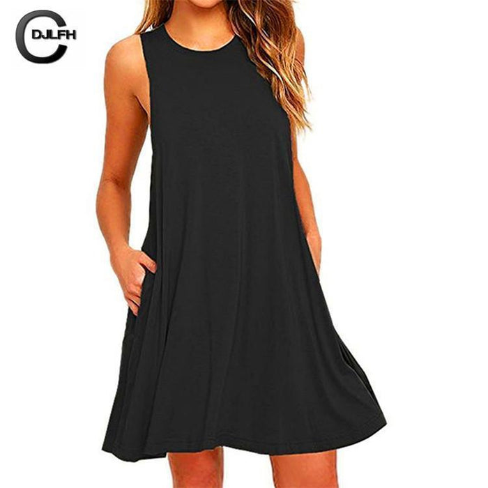 Ukraine Stylish A-Line Solid Black Summer Dress Women Mini Boho Party&Beach Women Dresses-Dresses-WenGrace Store-nz055Black-S-EpicWorldStore.com