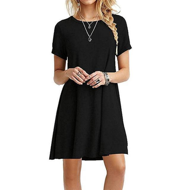 Ukraine Stylish A-Line Solid Black Summer Dress Women Mini Boho Party&Beach Women Dresses-Dresses-WenGrace Store-nz056Black-S-EpicWorldStore.com
