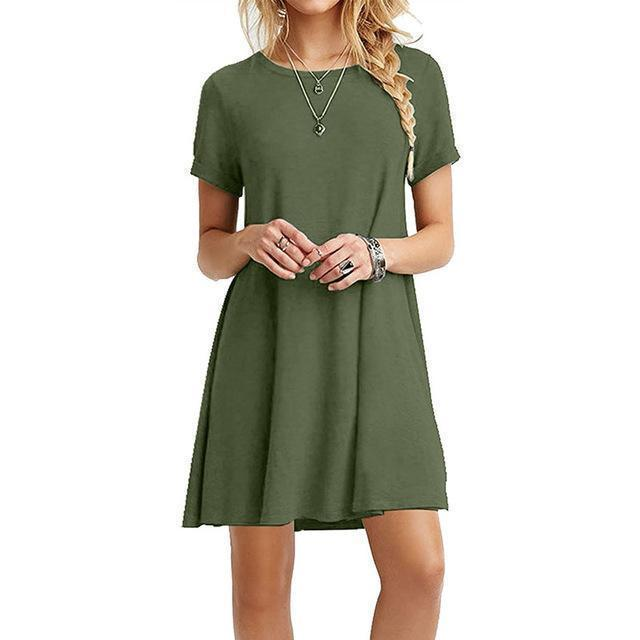 Ukraine Stylish A-Line Solid Black Summer Dress Women Mini Boho Party&Beach Women Dresses-Dresses-WenGrace Store-nz056Green-S-EpicWorldStore.com
