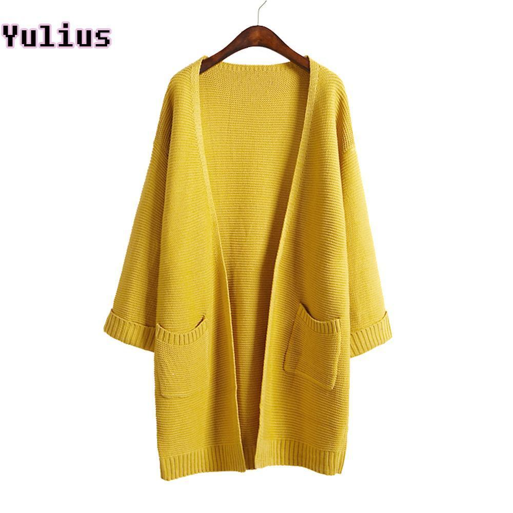 Ulzzang Girl Casual Long Knitted Cardigan Autumn Korean Women Loose Solid Color Pocket Design-Sweaters-Knitwear clothes Store-Beige S031-S-EpicWorldStore.com
