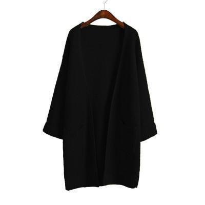 Ulzzang Girl Casual Long Knitted Cardigan Autumn Korean Women Loose Solid Color Pocket Design-Sweaters-Knitwear clothes Store-Black S031-S-EpicWorldStore.com