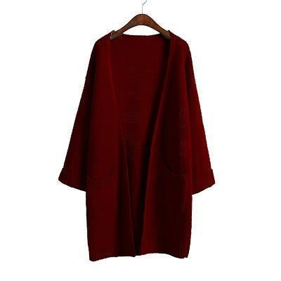 Ulzzang Girl Casual Long Knitted Cardigan Autumn Korean Women Loose Solid Color Pocket Design-Sweaters-Knitwear clothes Store-Burgundy S031-S-EpicWorldStore.com