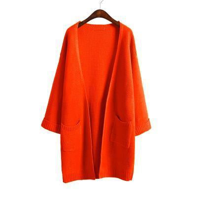 Ulzzang Girl Casual Long Knitted Cardigan Autumn Korean Women Loose Solid Color Pocket Design-Sweaters-Knitwear clothes Store-Orange red S031-S-EpicWorldStore.com