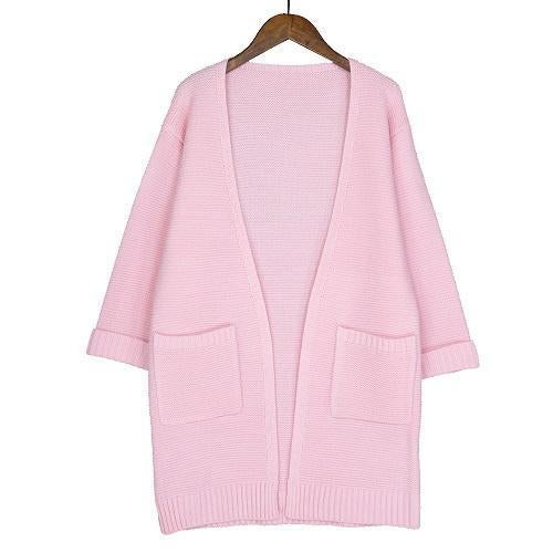 Ulzzang Girl Casual Long Knitted Cardigan Autumn Korean Women Loose Solid Color Pocket Design-Sweaters-Knitwear clothes Store-Pink S031-S-EpicWorldStore.com