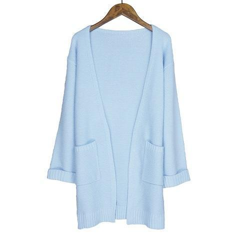 Ulzzang Girl Casual Long Knitted Cardigan Autumn Korean Women Loose Solid Color Pocket Design-Sweaters-Knitwear clothes Store-sky blueS031-S-EpicWorldStore.com
