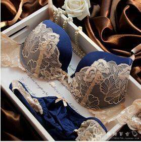 Underclothes Brand Underwear Women Bras B C Cup Lingerie Set With Brief Stylish Lingerie Lace-Bra & Brief Sets-Warm Inn-Blue-B-32-EpicWorldStore.com