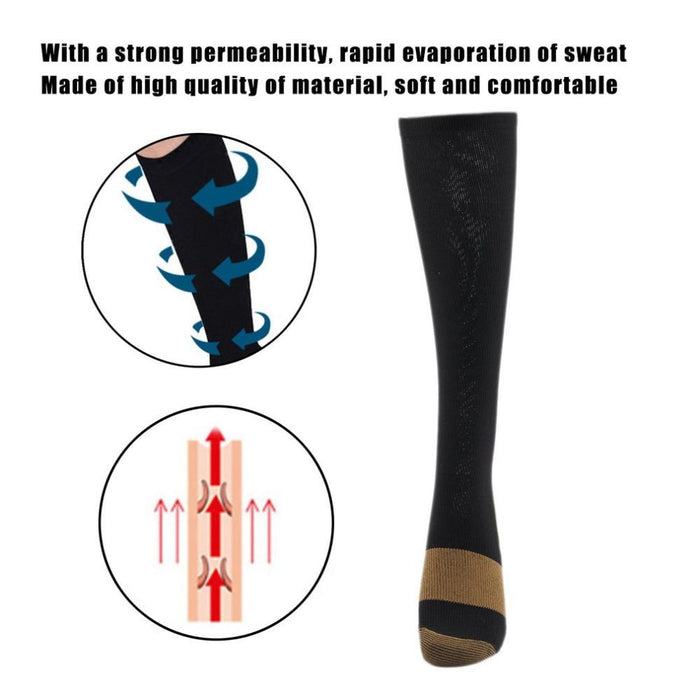 Men's Socks Anti-fatigue Compression Socks Unisex Foot Pain Relief Soft Miracle Copper Anti Fatigue Magic Socks Support Knee High Stockings
