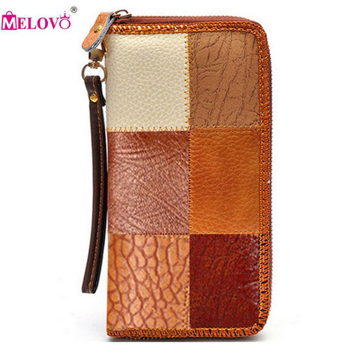 Unisex Genuine Leather Vintage Wallets Color Patchwork Long Day Clutches Purse Wrist Hand Mobile-M&V Store-EpicWorldStore.com