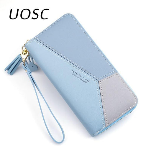 Uosc Fashion Ladies Wallet Women Long Wallets Zipper Purse Patchwork Panelled Wallets Big Capacity-Wallets-UOSC Store-Blue-EpicWorldStore.com