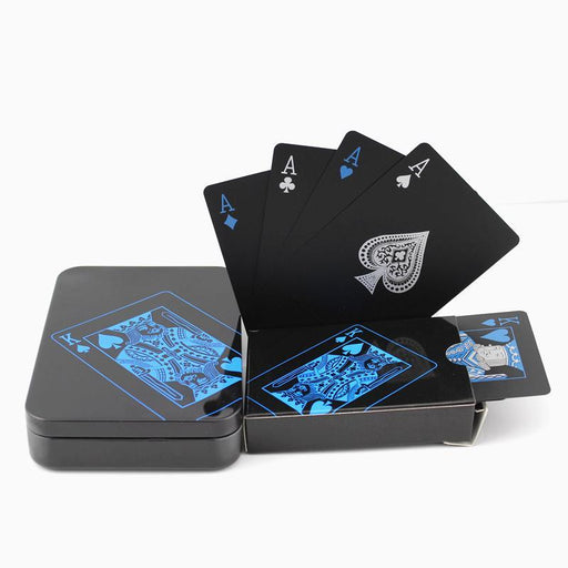 Upgraded Metal Box Plastic Pvc Black Poker Waterproof Playing Cards Novelty High Quality-Entertainment-Feiqu Trading Co., Ltd. Store-Paper Box-EpicWorldStore.com