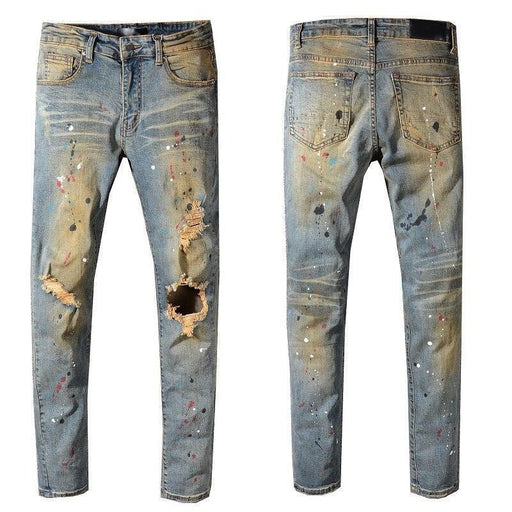 Usamr Streetwear Justin Bieber Mens Distressed Jeans Pants Flares Patches Skinny Destroyed Men Jeans-Home-Balplein Store-513-28-EpicWorldStore.com
