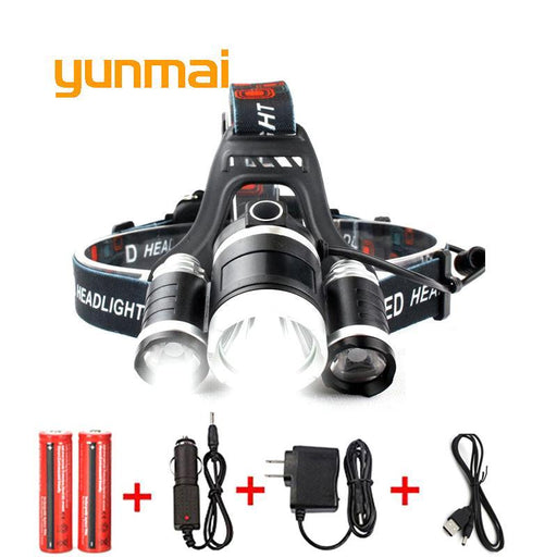 Usb Power Led Headlight Headlamp 10000 Lumen 3*Cree Xml T6 Rechargeable Head Lamp Torch 18650-Portable Lighting-yunmai Official Store-EpicWorldStore.com