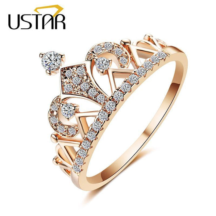 12b0cab95 Ustar Princess Crown Rings For Women Aaa Cubic Zirconia Micro Pave Setting  Engagement Wedding-Rings
