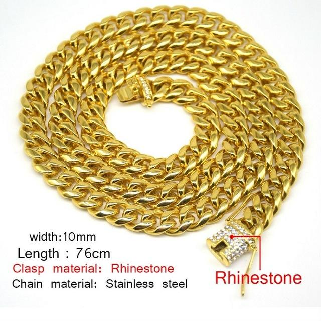 e39398e44e Uwin 10Mm Men Cuban Miami Link Necklace Stainless Steel Rhinestone Clasp  Iced Out Gold Silver Hip