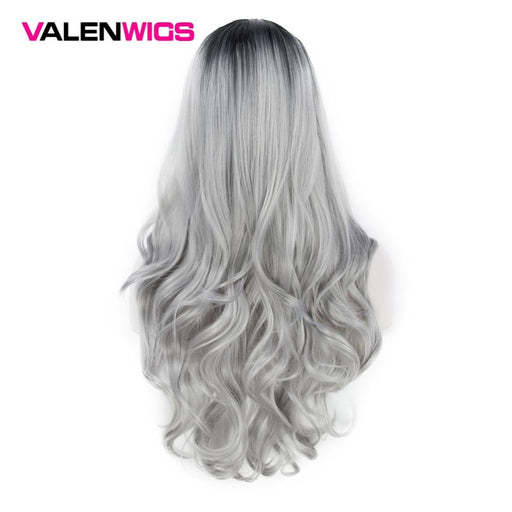 Valenwigs Ombre Wig Two Tones Black To Silver Gray Synthetic Wigs Hair Heat Resistant Glueless-Shop3215061 Store-EpicWorldStore.com