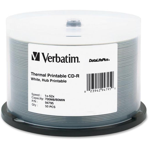 Verbatim Cd-R 700Mb 52X Datalifeplus White Thermal Printable, Hub Printable - 50Pk Spindle-Computers & Electronics-Verbatim America, LLC-EpicWorldStore.com