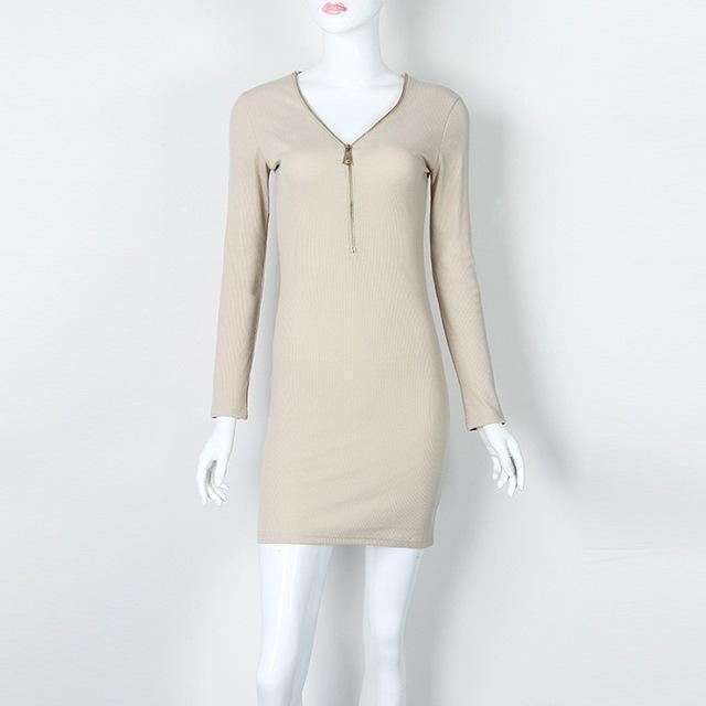 Vestidos Knitting Women Dresses Zipper O-Neck Stylish Knitted Dress Long Sleeve Bodycon Sheath-Dresses-iFashion (Hong Kong) Limited-Khaki-S-EpicWorldStore.com