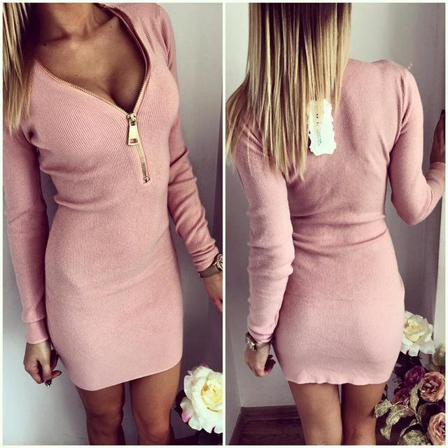 Vestidos Knitting Women Dresses Zipper O-Neck Stylish Knitted Dress Long Sleeve Bodycon Sheath-Dresses-iFashion (Hong Kong) Limited-Pink-S-EpicWorldStore.com