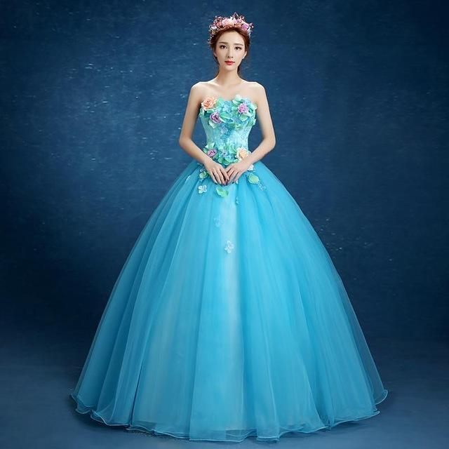 Vestidos Para Quinceaneras Handmade Flowers Crystal Quinceanera Gowns Ball Gown Lace