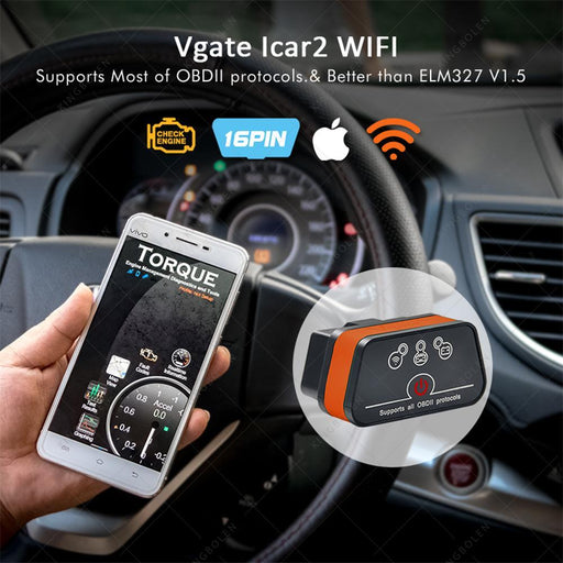 Vgate Icar2 Elm327 Wifi/Bluetooth Obd2 Diagnostic Tool For Ios Iphone/Android/Pc Icar 2 Wifi/Bt-Car Repair Tools-KINGBOLEN Store-WIFI Black Orange-EpicWorldStore.com