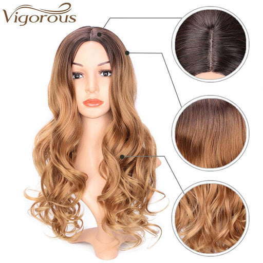 Vigorous Long Ombre Brown Blonde Wavy Wig Natural Hair Part Synthetic Wigs For Women Glueless-Home-VigorousBeauty Store-R3-30-27-24inches-EpicWorldStore.com