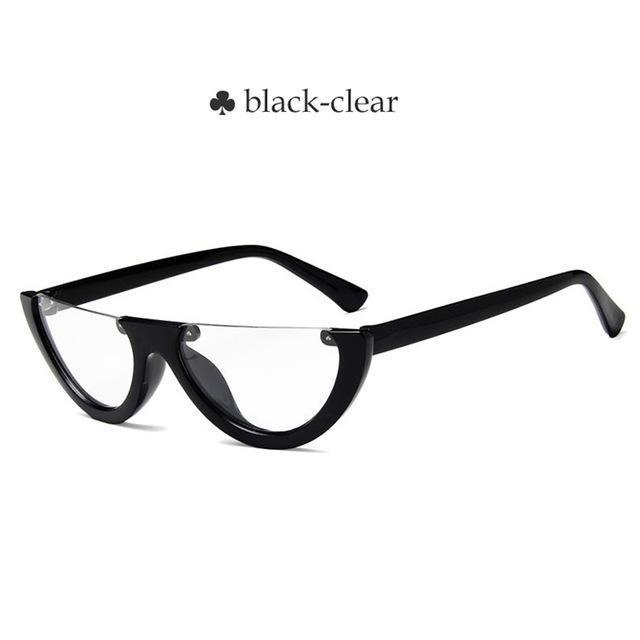 Vintage Half Frame Cat Eye Sunglasses Women Small Cool Black White Red Clear Sun Glasses Female-Sunglasses-yueyaolao Official Store-black-clear-EpicWorldStore.com