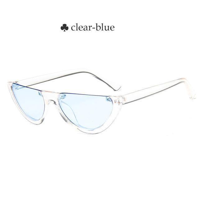 Vintage Half Frame Cat Eye Sunglasses Women Small Cool Black White Red Clear Sun Glasses Female-Sunglasses-yueyaolao Official Store-clear-blue-EpicWorldStore.com