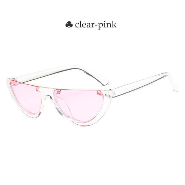 Vintage Half Frame Cat Eye Sunglasses Women Small Cool Black White Red Clear Sun Glasses Female-Sunglasses-yueyaolao Official Store-clear-pink-EpicWorldStore.com