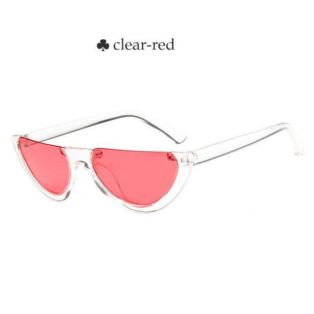 Vintage Half Frame Cat Eye Sunglasses Women Small Cool Black White Red Clear Sun Glasses Female-Sunglasses-yueyaolao Official Store-clear-red-EpicWorldStore.com