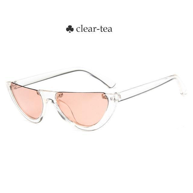 Vintage Half Frame Cat Eye Sunglasses Women Small Cool Black White Red Clear Sun Glasses Female-Sunglasses-yueyaolao Official Store-clear-tea-EpicWorldStore.com