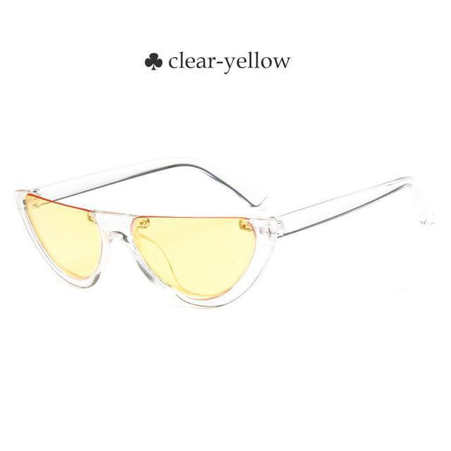 Vintage Half Frame Cat Eye Sunglasses Women Small Cool Black White Red Clear Sun Glasses Female-Sunglasses-yueyaolao Official Store-clear-yellow-EpicWorldStore.com
