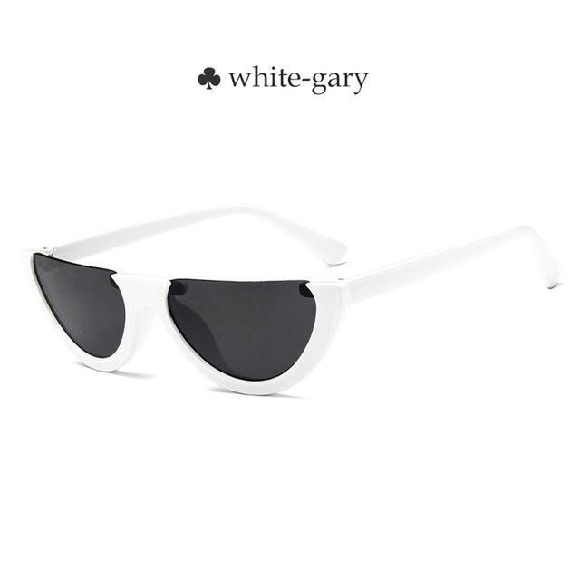 Vintage Half Frame Cat Eye Sunglasses Women Small Cool Black White Red Clear Sun Glasses Female-Sunglasses-yueyaolao Official Store-white-gray-EpicWorldStore.com