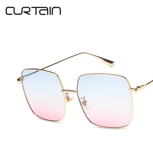 Vintage Steampunk Sunglasses Women Big Frame Square Sun Glasses Ladies Clear Tinted Lens Mirror-Sunglasses-Vintada Bag Store-gold-pink blue-EpicWorldStore.com