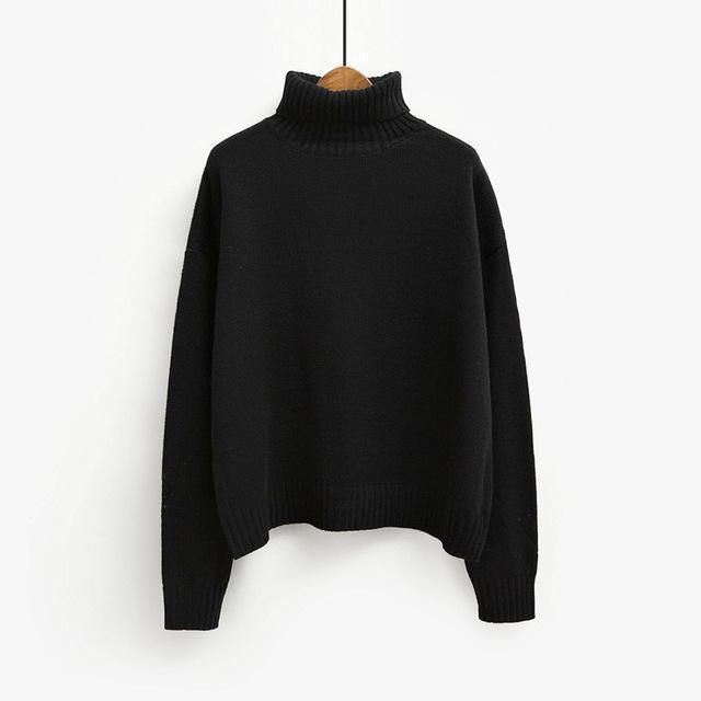 Vintage Women Sweater Long Sleeve Loose Turtleneck Knitted Pullover-Sweaters-Knitwear clothes Store-Black-XS-EpicWorldStore.com