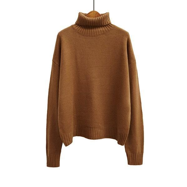 Vintage Women Sweater Long Sleeve Loose Turtleneck Knitted Pullover-Sweaters-Knitwear clothes Store-Brown-XS-EpicWorldStore.com