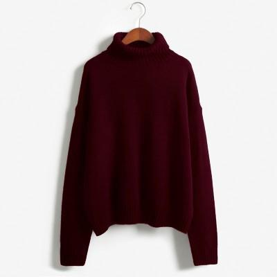 Vintage Women Sweater Long Sleeve Loose Turtleneck Knitted Pullover-Sweaters-Knitwear clothes Store-Burgundy-XS-EpicWorldStore.com