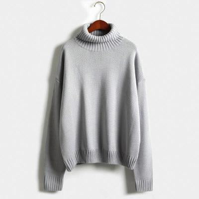 Vintage Women Sweater Long Sleeve Loose Turtleneck Knitted Pullover-Sweaters-Knitwear clothes Store-Gray-XS-EpicWorldStore.com