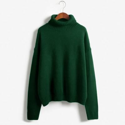 Vintage Women Sweater Long Sleeve Loose Turtleneck Knitted Pullover-Sweaters-Knitwear clothes Store-Green-XS-EpicWorldStore.com