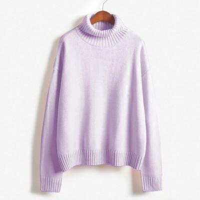 Vintage Women Sweater Long Sleeve Loose Turtleneck Knitted Pullover-Sweaters-Knitwear clothes Store-Lavender-XS-EpicWorldStore.com