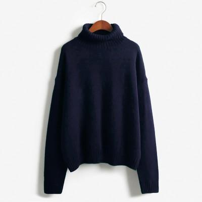 Vintage Women Sweater Long Sleeve Loose Turtleneck Knitted Pullover-Sweaters-Knitwear clothes Store-Navy Blue-XS-EpicWorldStore.com