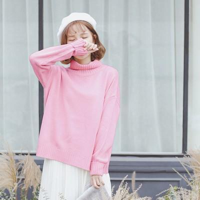 Vintage Women Sweater Long Sleeve Loose Turtleneck Knitted Pullover-Sweaters-Knitwear clothes Store-Pink-XS-EpicWorldStore.com