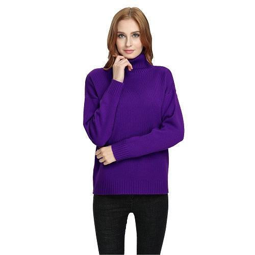 Vintage Women Sweater Long Sleeve Loose Turtleneck Knitted Pullover-Sweaters-Knitwear clothes Store-purple-XS-EpicWorldStore.com
